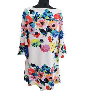 Tahari by ASL Bell Sleeve Floral Scuba Shift Dress